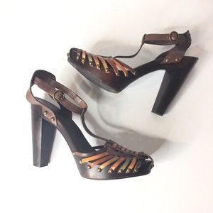 BCBGirls Brown Leather Caged Toe Wooden Heels